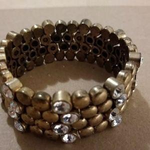 J. Crew Bracelet Stretch Crystal  Gold tone